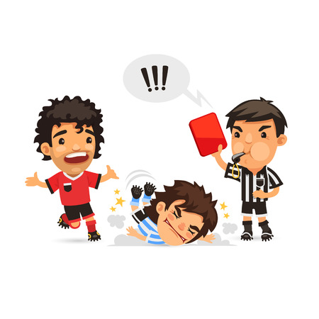 judge players: Soccer player who making tackle foul and Referee showing him red Illustration