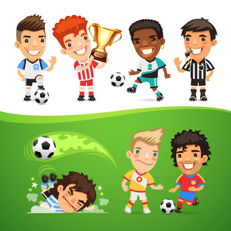uniforme de futbol: Los jugadores y �rbitro de f�tbol de la historieta