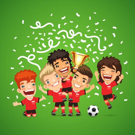 winner: Campeones felices de fútbol con los ganadores de la taza.