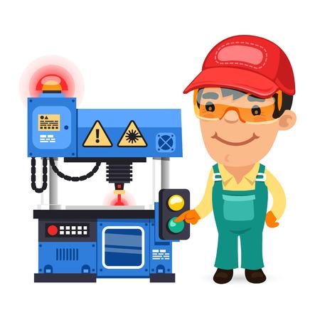 mechanic cartoon: Factory Worker is Working on Laser Plotter