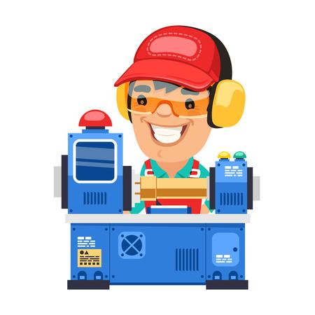 Obrero que se trabaja en la máquina del torno