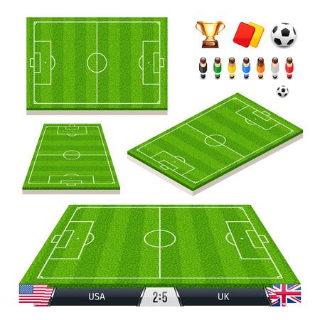 cancha de futbol: Ilustración vectorial conjunto de campos de fútbol en Cuatro Diferentes Posiciones Vectores