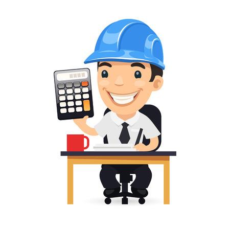 engineer computer: Engineer Cartoon Character with Calculator