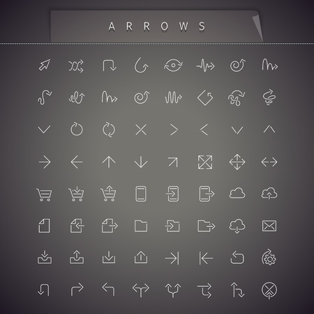 iconography: Arrows Thin Icons Set