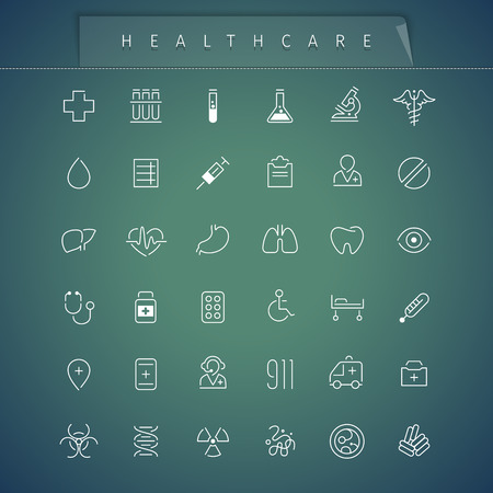 bacteria microscope: Healthcare Thin Icons Set