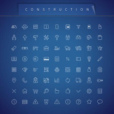warning saw: Construction Thin Icons Set