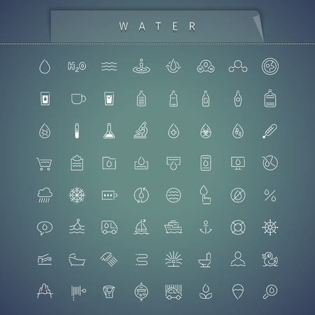 water filter: Water Thin Icons Set