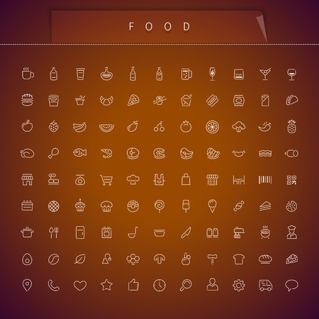 Food Thin Icons Set