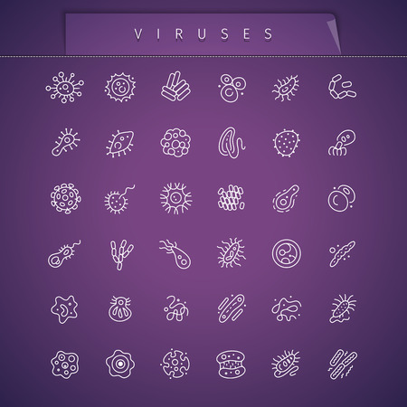 lepra: Los virus Thin Icons Set