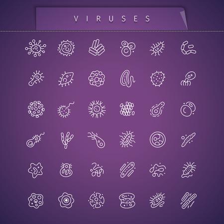 escherichia coli: Viruses Thin Icons Set