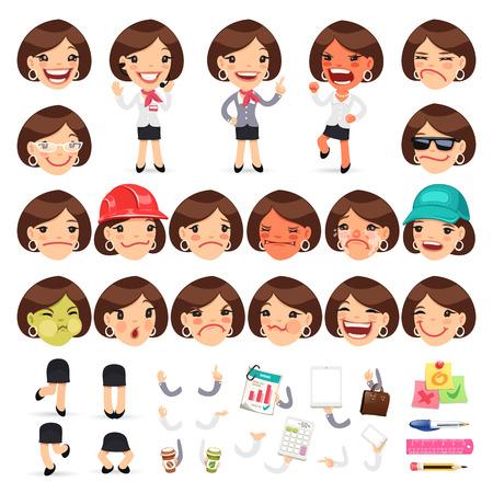 Reihe von Comic-Female-Manager Character