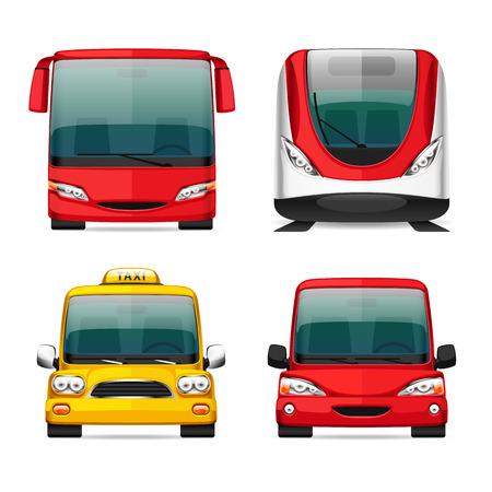 chofer de autobus: Coloridos iconos de transporte