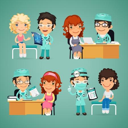 medico caricatura: Conjunto de vector Mujeres Tener Consulta Médica en Doctors Office. En el archivo EPS, cada elemento se agrupa por separado. Caminos de recortes incluidos en formato jpg adicional.