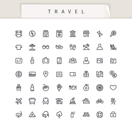 Travel and Vacation Stroke Icons Set. Isolated on white background. Clipping paths included in JPG file. Stock Illustratie