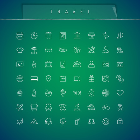 Travel and Vacation Thin Icons Set. Clipping paths included in JPG file. Ilustração