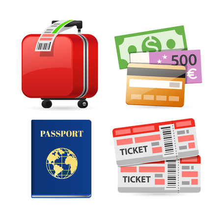 emigration and immigration: Colorful Travel Planning Icons for Your Vacation and Journey Projects. Isolated on white background. Clipping paths included in JPG file.