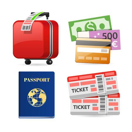 valigia: Icone variopinte di pianificazione di viaggio per le vostre vacanze e Viaggio Progetti. Isolato su sfondo bianco. Percorsi di clipping incluso in JPG. Vettoriali