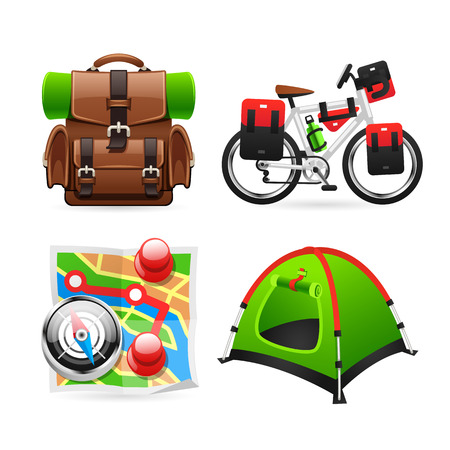 backpack: Colorful Tourism Icons. Isolated on white background. Clipping paths included in JPG file.