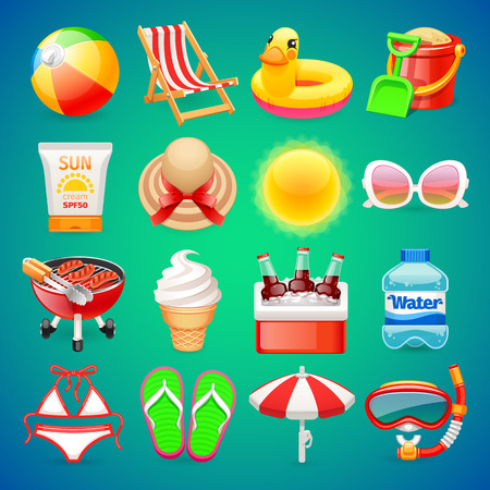 Colorful Summer Icons Set for Your Sea and Travel Projects. Clipping paths included in additional jpg format. Çizim