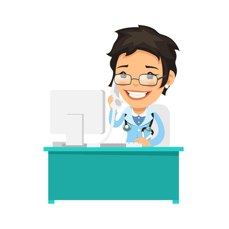 medical computer: Female Doctor Talking on the Phone. Isolated on white background. Clipping paths included in JPG file.
