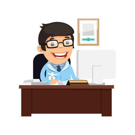 Head Physician at His Desk. Isolated on white background. Clipping paths included in JPG file.