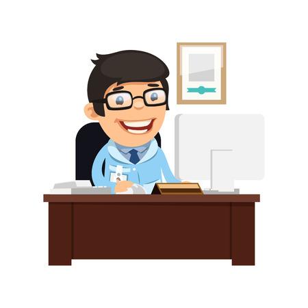 hombre caricatura: Médico Jefe en su escritorio. Aislado en el fondo blanco. Caminos de recortes incluidos en el archivo JPG.