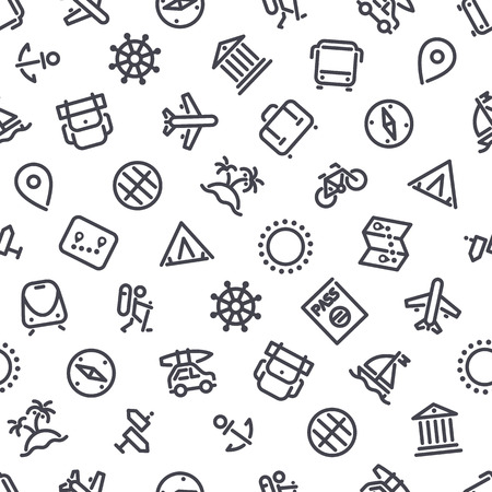 vacation: Travel and Vacation Icons Seamless Background. Editable pattern in swatches. Clipping paths included in JPG file.