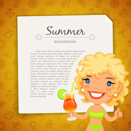 paths: Colorful Summer Background with Blonde Lady. Seamless Pattern in Swatches. Clipping paths included in JPG file.