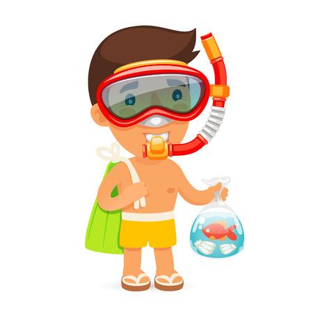 flippers: Hombre joven en la máscara de la nadada Mantiene Bolsa con Fish. Aislado en el fondo blanco. Caminos de recortes incluidos en el archivo JPG.