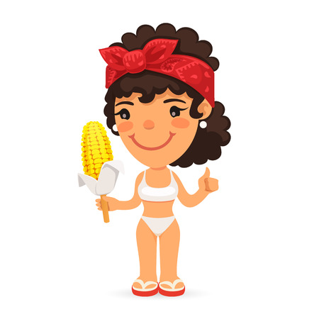 summer girl: Woman in Swimwear with Boiled Corn. Isolated on white background. Clipping paths included in JPG file.