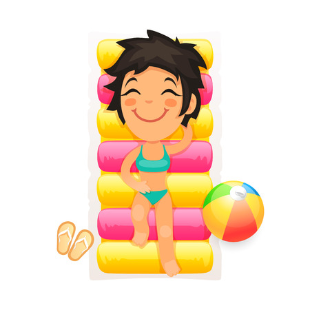 beauty girl pretty: Colorful Vector Illustration of a Young Girl Relaxing on a Swim Mattress for Your Sea Vacation Projects. Isolated on white background. Clipping paths included in JPG file. Illustration