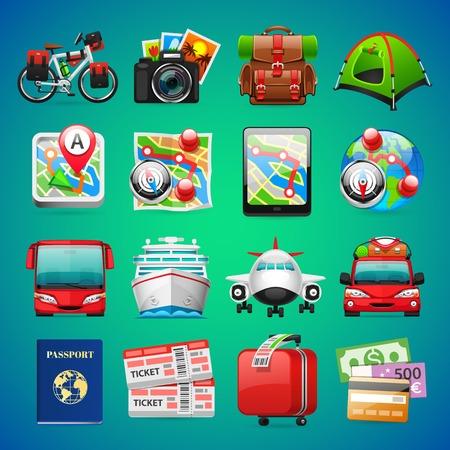 bagagli: Icone di viaggio colorato per la vostra vacanza e il viaggio Progetti. percorsi di clipping incluso nel file di JPG. Vettoriali