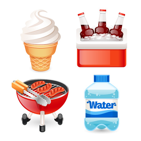 water cooler: Picnic Food Icons Set for Your Summer and Vacation Projects. Isolated on white background. Clipping paths included in JPG file. Illustration