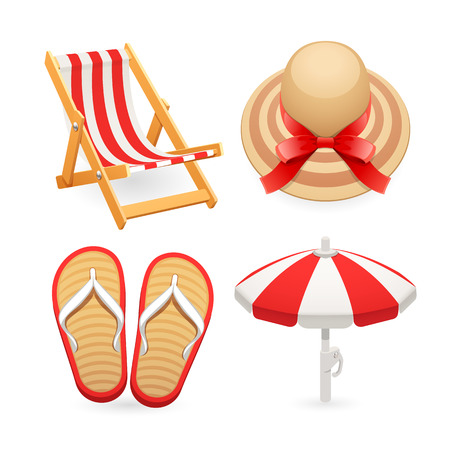 accessory: Beach Accessories Icons Set for Your Sea and Vacation Projects. Isolated on white background. Clipping paths included in JPG file.