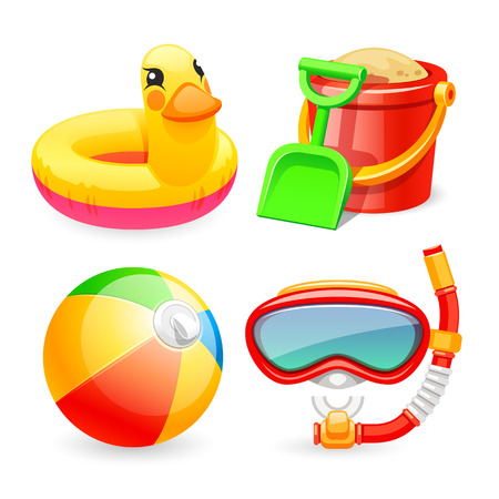Jouets de plage colorées Icons Set pour votre Mer et projets enfants. Isolé sur fond blanc. Chemins de détourage inclus dans le fichier JPG.