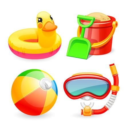 Kleurrijke Beach Toys Pictogrammen instellen voor uw Sea and Child projecten. Geïsoleerd op een witte achtergrond. Clipping paths opgenomen in JPG-bestand.