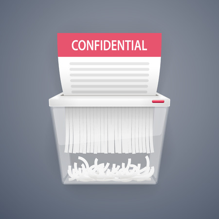 Shredding Documents for Security. Clipping paths included in JPG file.