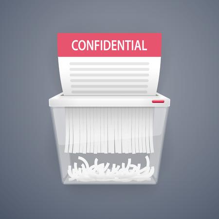 reciclaje de papel: Trituración de Documentos de Seguridad. Caminos de recortes incluidos en el archivo JPG.