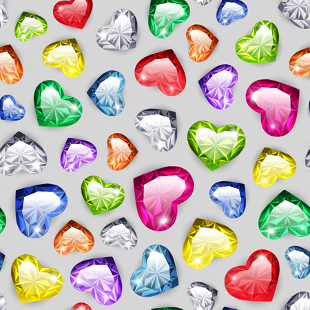 Colorful Gem Hearts Seamless Pattern for Romantic Jewelry Projects