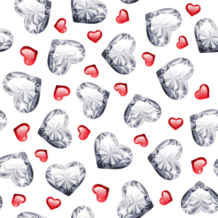 ruby: Ruby and Diamond Gem Hearts Seamless Pattern for Romantic Jewelry Projects.