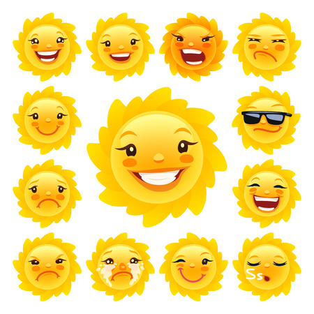 Cartoon Sun Caracter Emoticons Set for Your Summer Projects. Isolated on white background. Clipping paths included in JPG file. Vectores