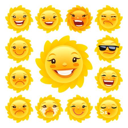 sol caricatura: Historieta Sun Caracter Emoticons Set para sus proyectos de verano. Aislado en el fondo blanco. Caminos de recortes incluidos en el archivo JPG.