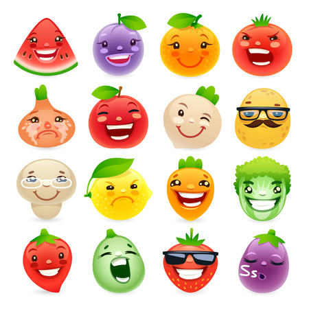 frutas divertidas: Frutas y Verduras divertidas de la historieta con emociones diferentes. Vectores