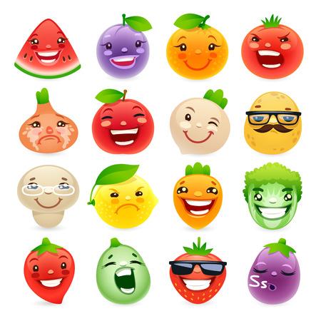 Lustige Cartoon-Obst und Gemüse mit verschiedenen Emotionen. Vektorgrafik