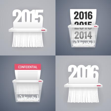 paper shredder: Paper Shredder Illustrations with Dates Illustration