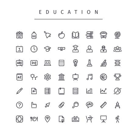 Education Stroke Icons Set