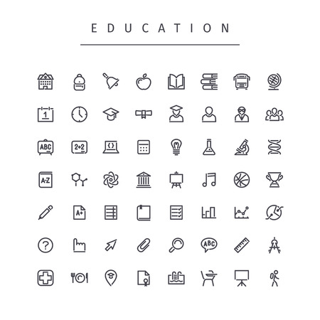Education Stroke Icons Set