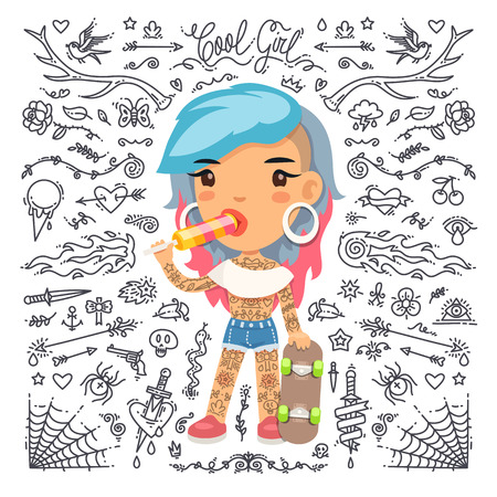 culebra caricatura: Funny Tattoo Girl with Skateboard