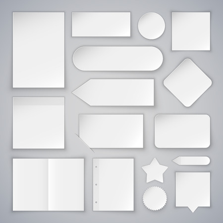 paper fold: Set of White Paper Sheets Mock Ups and Banners. Clipping paths included in JPG file.