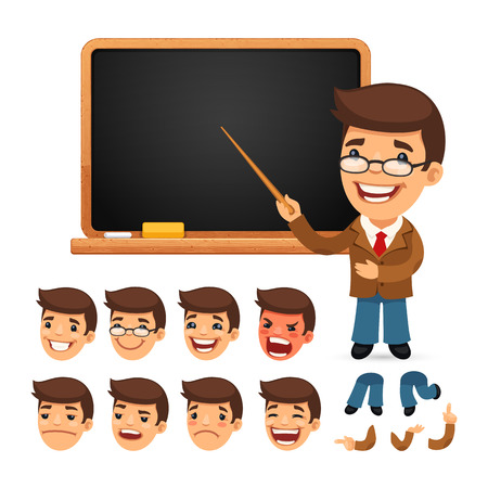 Set of Cartoon Teacher Character with School Blackboard for Your Design or Animation. Isolated on White Background. Clipping paths included in additional jpg format. Vectores
